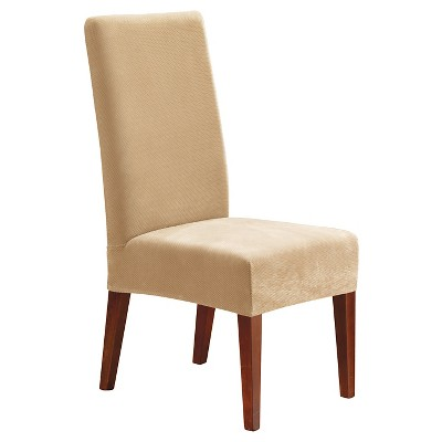 Ordinaire Stretch Pinpoint Short Dining Room Chair Cream   Sure Fit