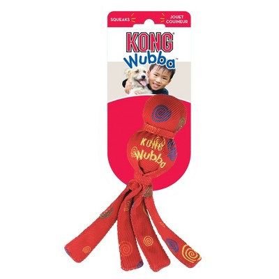 KONG SqueakAir Wubba Fetch Dog Toy - Red - Small