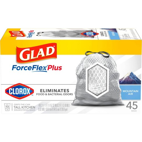 Glad ForceFlexPlus with Clorox Tall Kitchen Drawstring Trash Bags - Mountain Air - image 1 of 4