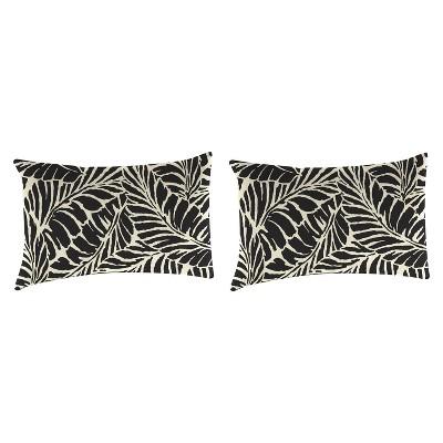 Outdoor Set Of 2 Rectangular Accessory Toss Pillows In Malkus Black - Jordan Manufacturing