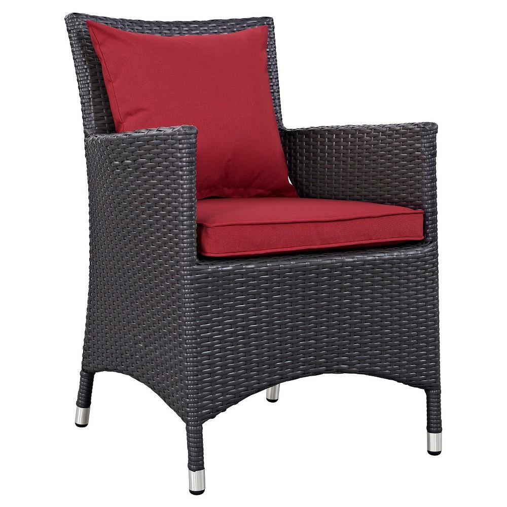 Convene Dining Outdoor Patio Armchair in Espresso Red - Modway