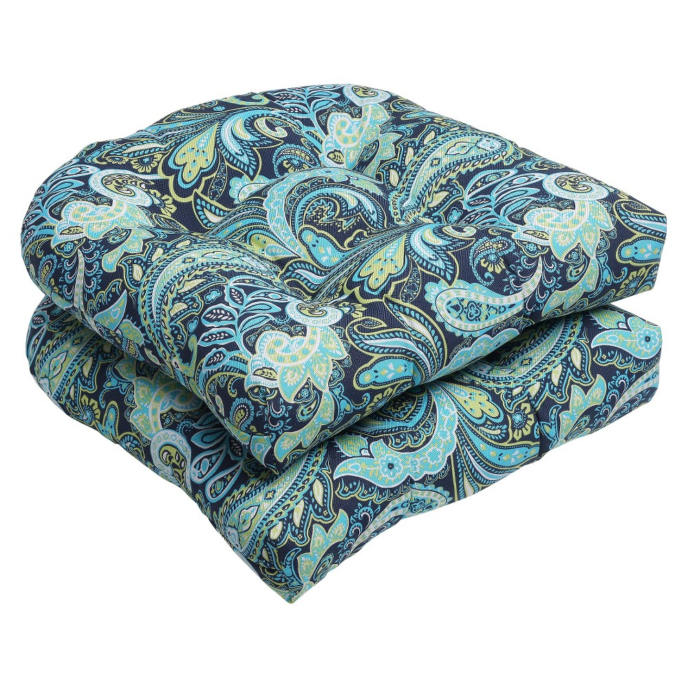 2pc OutdoorWicker Seat Cushion Set - Navy/Turqouise/Paisley - Pillow Perfect, Blue/Green