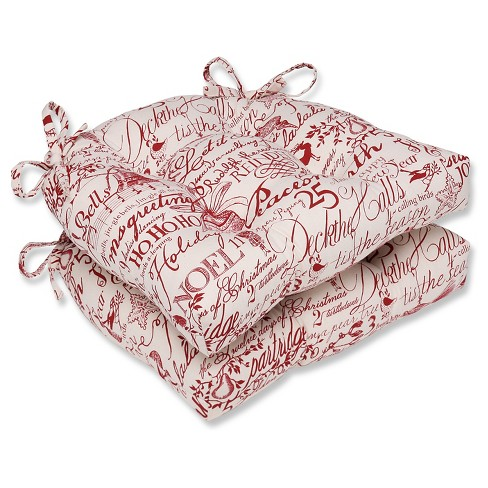 "Red Holiday Poinsettia Reversible Chair Pad (Set Of 2) (16.5""X15.5"") - Pillow Perfect - image 1 of 1"