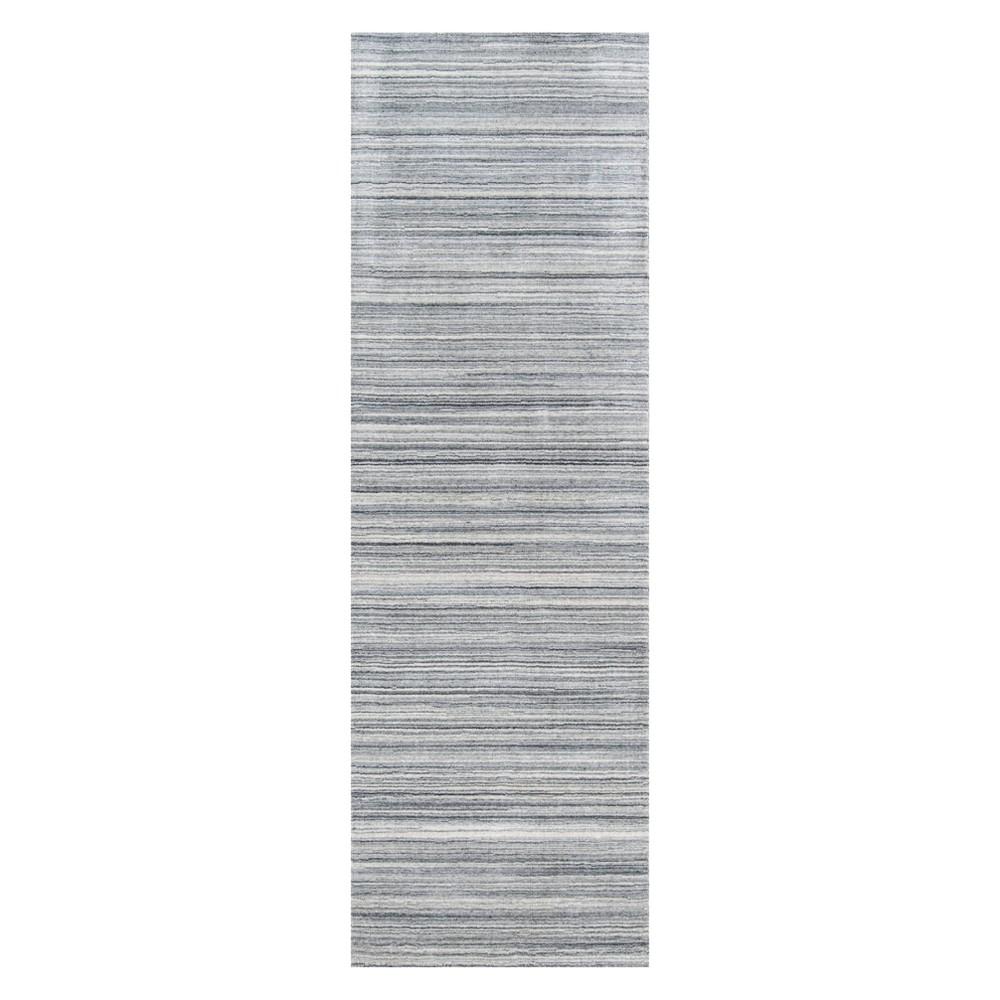 2'6X8' Stripe Loomed Runner Gray - Momeni