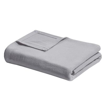 Full/Queen Freshspun Basketweave Cotton Bed Blanket Gray