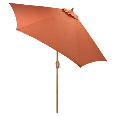 9' Round Umbrella - Orange - Wood Pole - Threshold™
