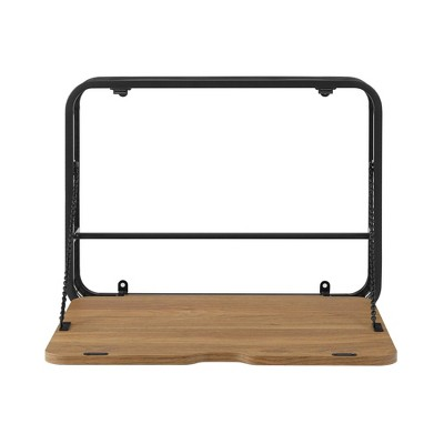 Industrial Metal and Wood Floating Wall Desk - Saracina Home