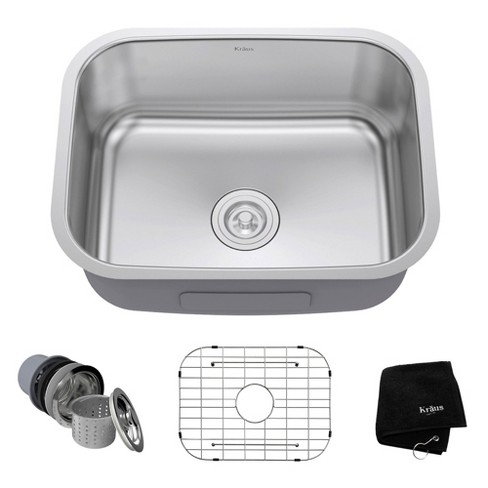 Kraus 23 Inch Rounded Corner Undermount Single Bowl Stainless Steel Kitchen  Sink