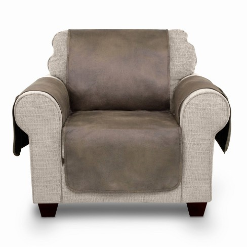 Faux Leather Furniture Protector With Neverwet Chair Slipcover Fawn - Serta - image 1 of 6