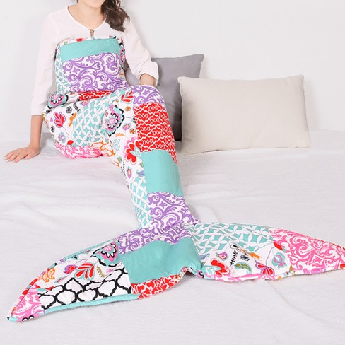 "Brookdale Patchwork Mermaid Sherpa Throw (30""x75"") - Lush Decor - image 1 of 4"