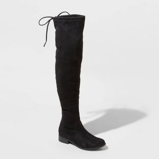 Women's Sidney Microsuede Over the Knee Fashion Boots - A New Day™ Black 7.5
