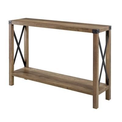 46  Urban Industrial Farmhouse Metal X Entry Table Rustic Oak - Saracina Home