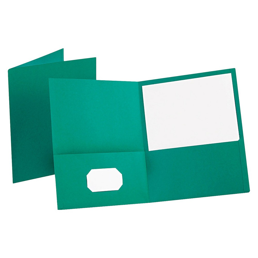 Oxford Twin-Pocket Paper Folder Portfolio with Embossed Leather Grain Paper - Teal (Blue) (Box of 25) Leatherette-grained stock provides a richer look and feel. Die-cut business card slot on inside front pocket keeps contact information at hand. Color: Teal.