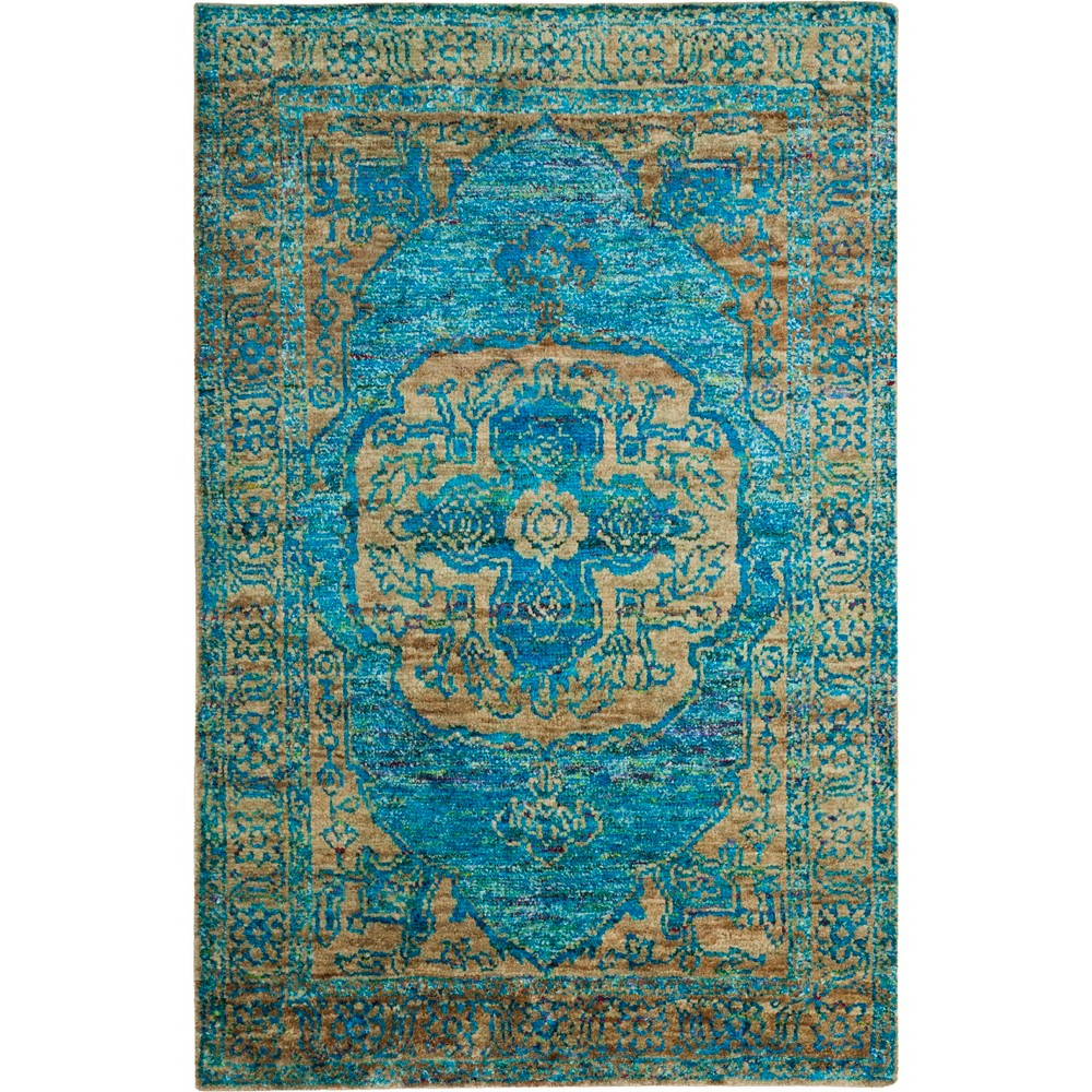 5'X8' Medallion Knotted Area Rug Teal/Beige (Blue/Beige) - Safavieh