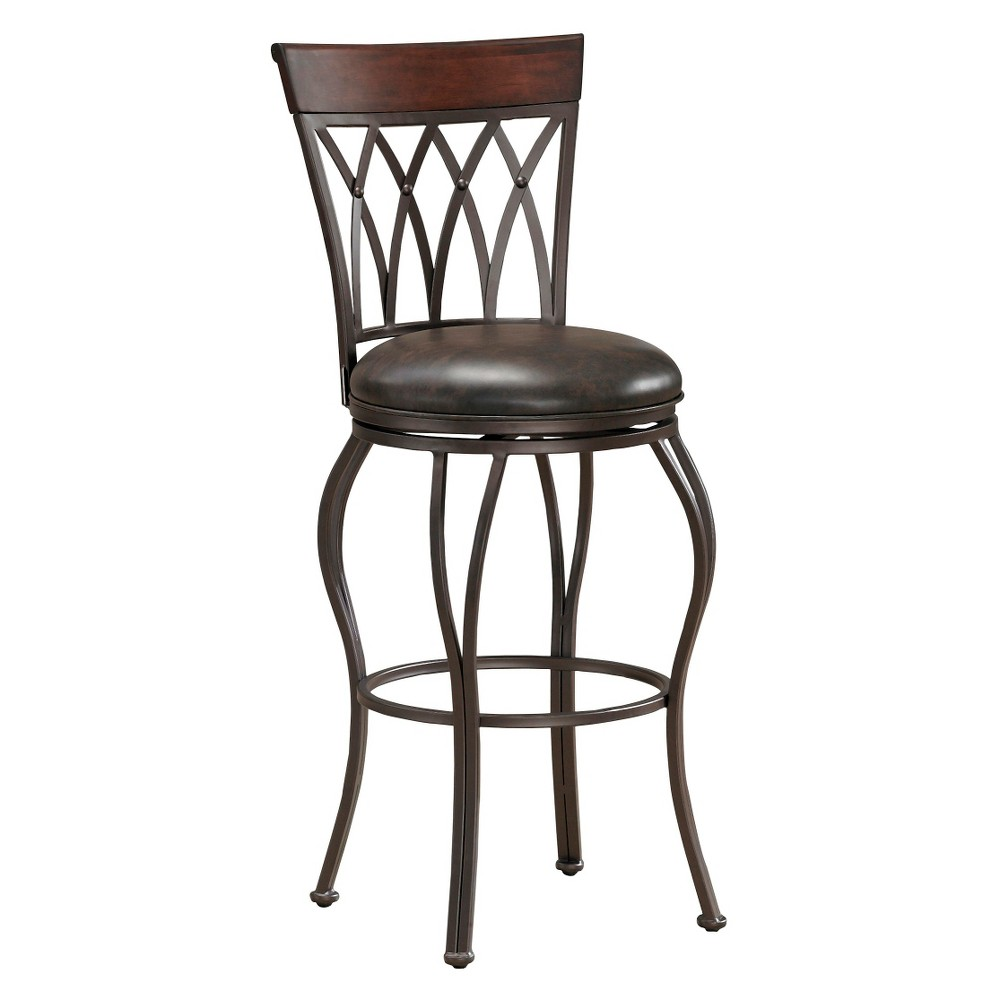 "Image of ""26"""" Palermo Swivel Bonded Leather Counter Stool Metal/Tobacco - American Heritage Billiards, Brown"""