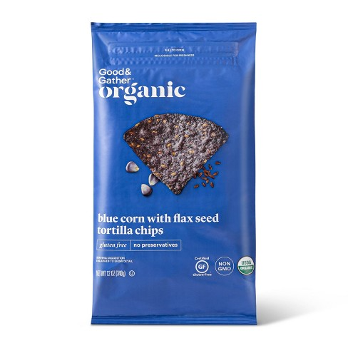 Organic Blue Corn Tortilla Chips with Flax Seeds - 12oz - Good & Gather™ - image 1 of 3