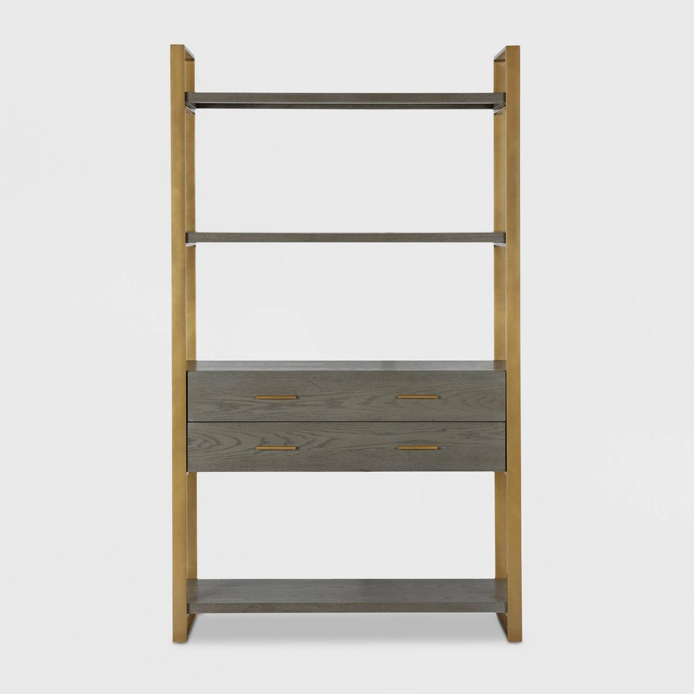 Image of Alfie Metal Bookcase Etagere with Drawers Gray - CosmoLiving by Cosmopolitan, Gray Gold