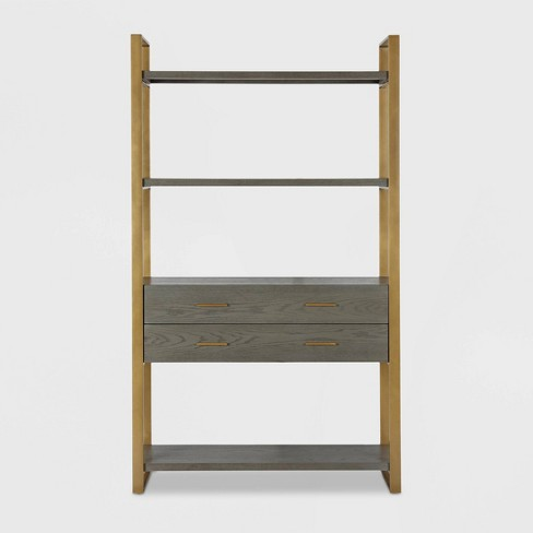 Alfie Metal Bookcase Etagere with Drawers Gray - CosmoLiving by Cosmopolitan - image 1 of 8