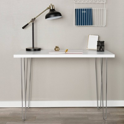 "42"" Hairpin Leg Writing Desk White - Saracina Home"