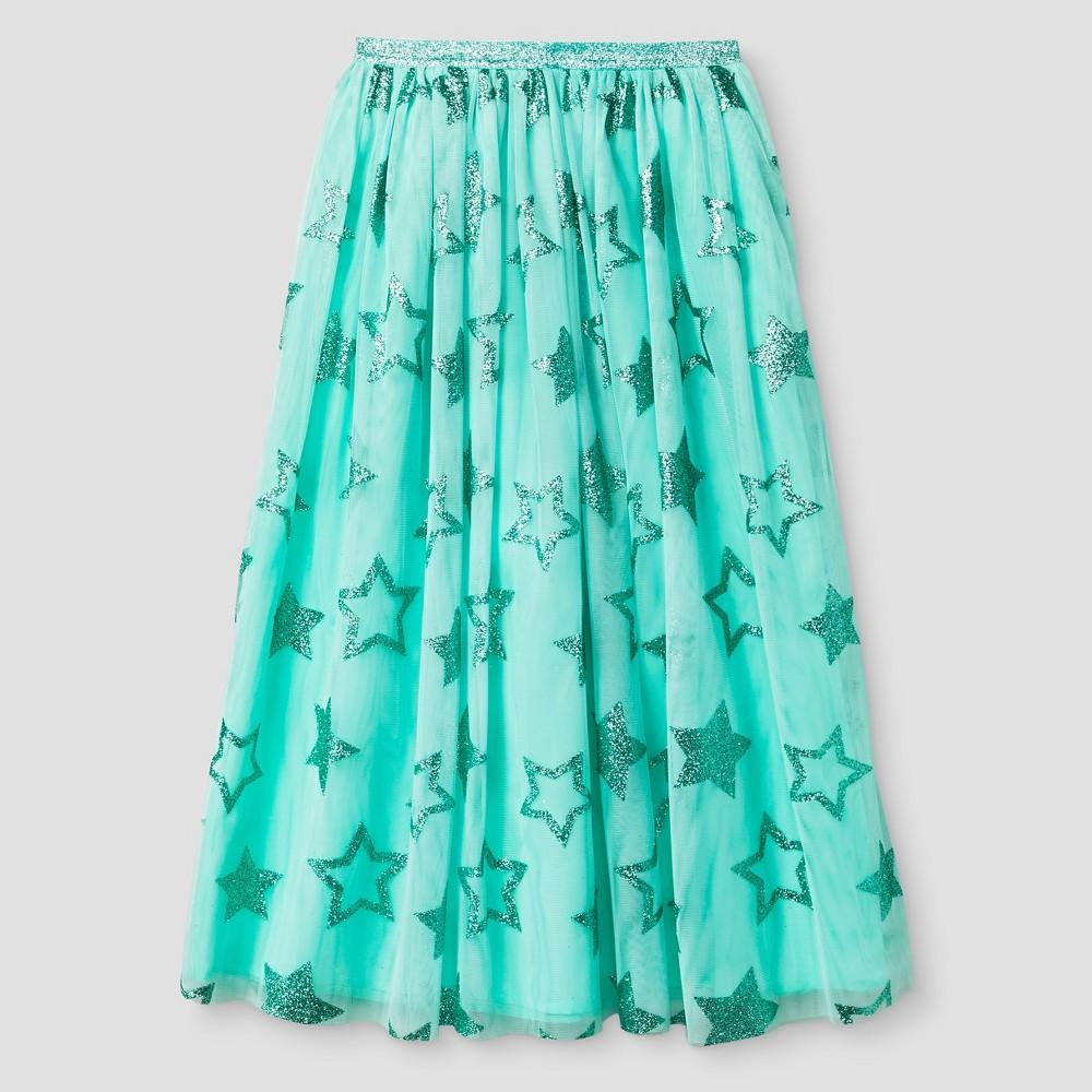 Girls' Glitter Star Tulle Maxi Skirt Aqua (Blue) - Cat & Jack XS