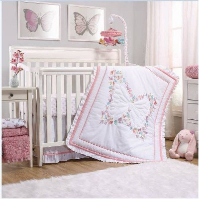 The Peanutshell Butterfly Whisper Crib Bedding Set - 3pc