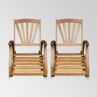 Sunview 2pk Acacia Wood Recliner Rocking Chair - Christopher Knight Home