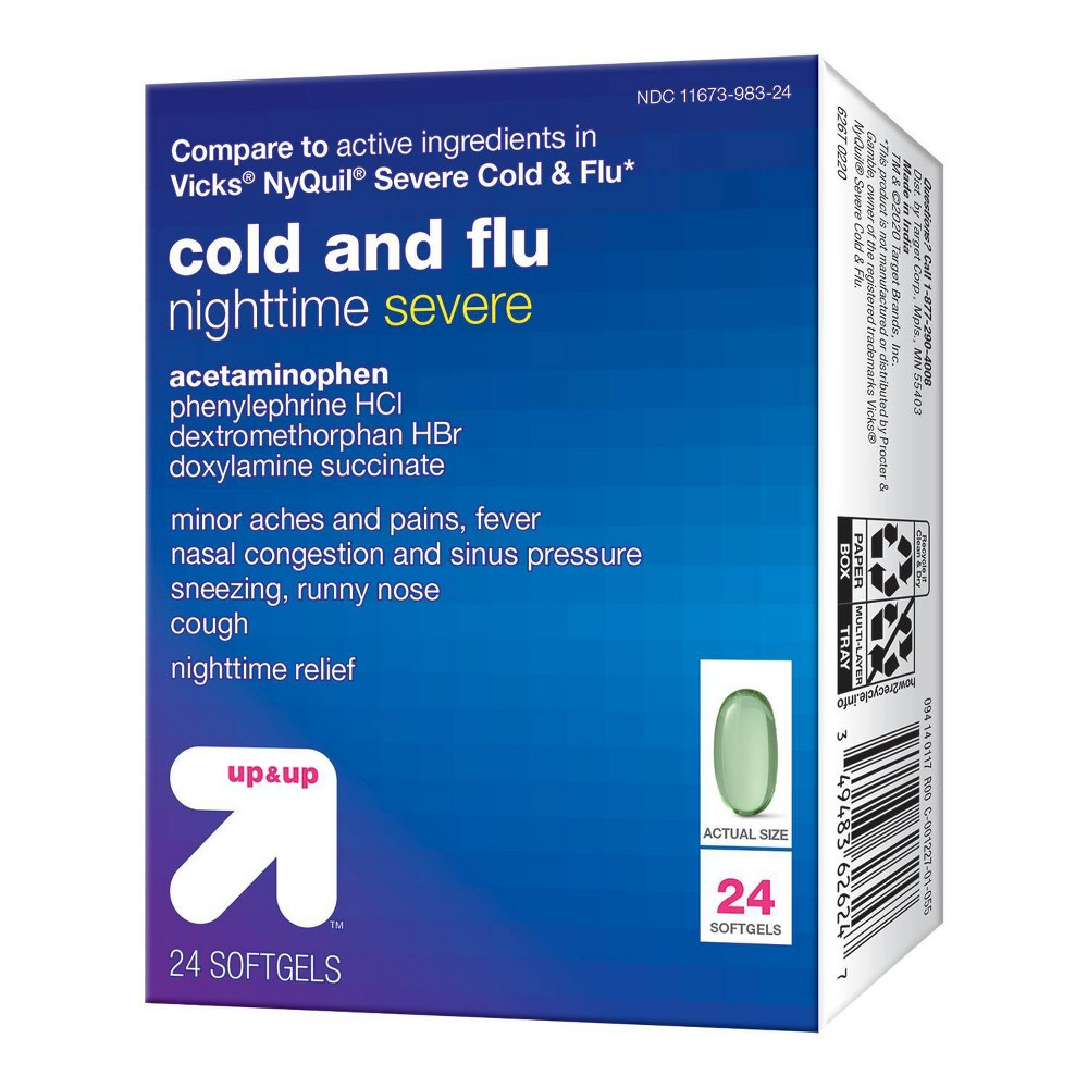 Nighttime Severe Cold 38 Flu Liquid Gels 24ct Up 38 Up 8482