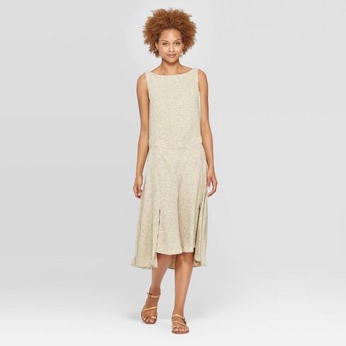 Women's Sleeveless Boat Neck Bias Skirt Midi Dress - Prologue™ Yellow XS - image 1 of 3