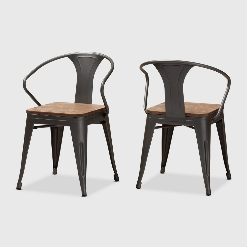 Set of 2 Henri Tolix Finished Steel Stackable Side Chairs Brown - BaxtonStudio