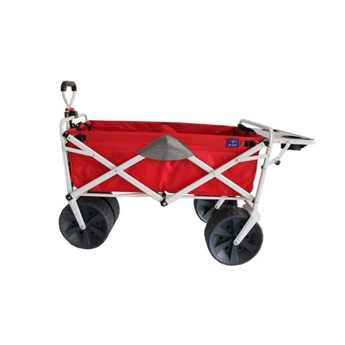 Mac Sports Folding Heavy Duty All Terrain Beach Wagon with Side Table, Red Grey - image 1 of 4