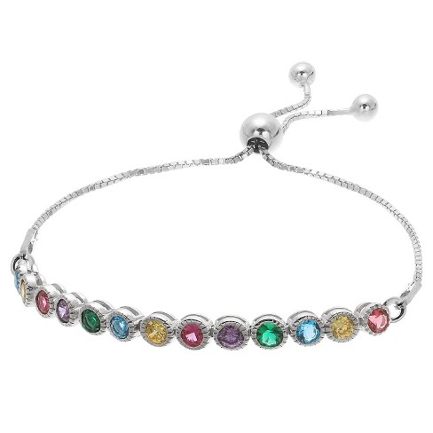 "Women's Adjustable Bracelet with Round Cubic Zirconias in Sterling Silver(9.25"") - image 1 of 1"