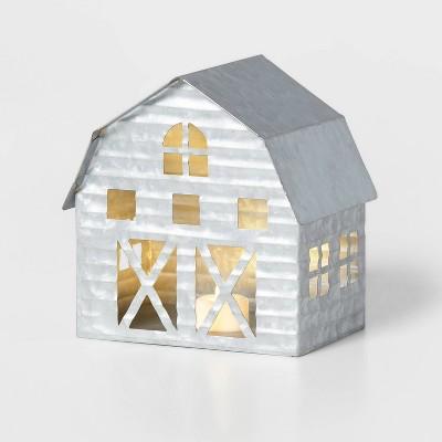 Galvanized Barn Decorative Figurine Silver - Wondershop™