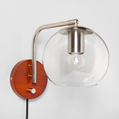 Madrot Glass Globe Wall Light Nickel - Project 62™