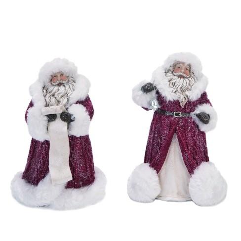 Transpac Resin 8 In Red Christmas Santa With Fur Coat Figurine Set Of 2 Target