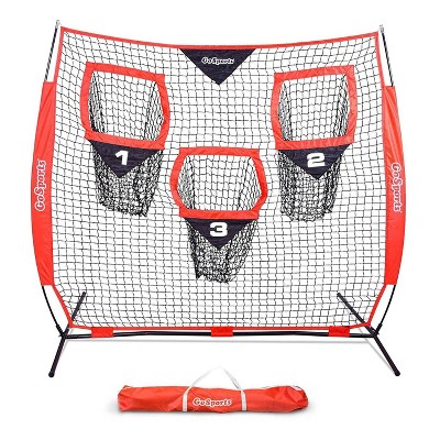 GoSports 6 X 6 Foot Foldable Reinforced Steel Bow Frame 3 Pocket Quarterback Accuracy Football Training Net with Portable Carrying Bag