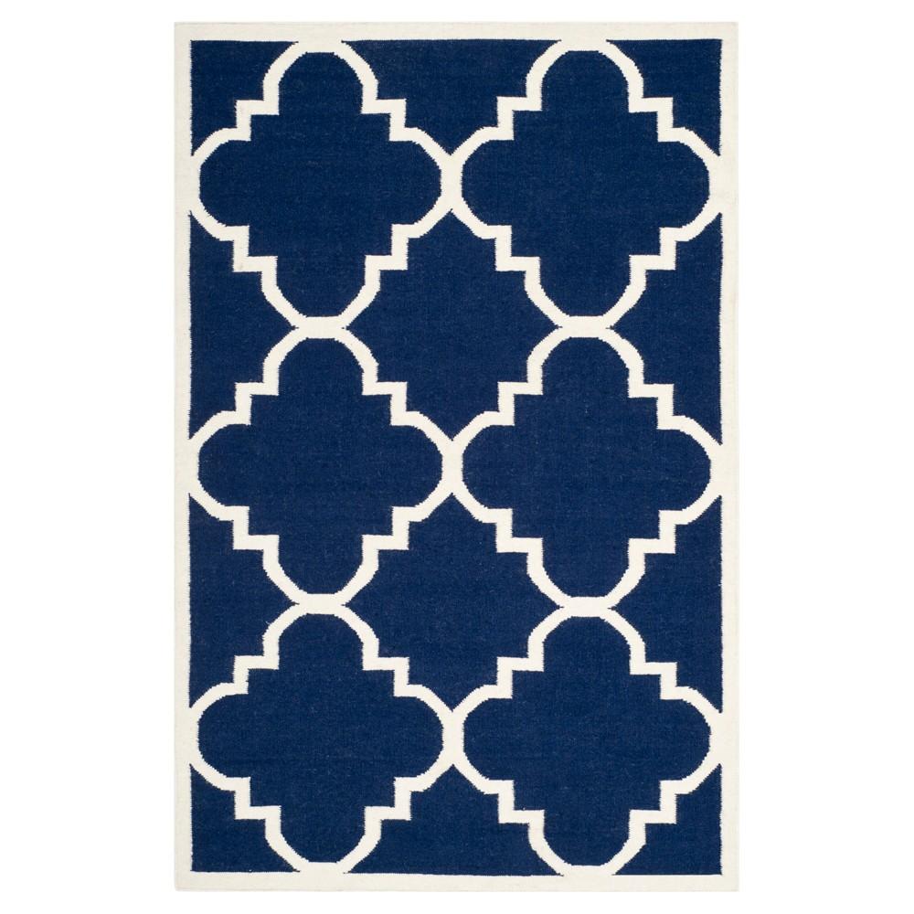 Mazagan Dhurry Rug - Navy/Ivory (Blue/Ivory) - (5'x8') - Safavieh