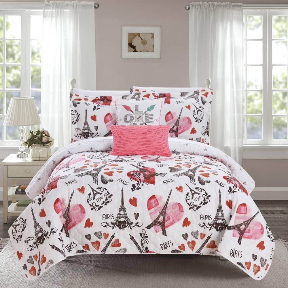 Chic Home Design Full 5pc Matisse Quilt Sham Set Pink