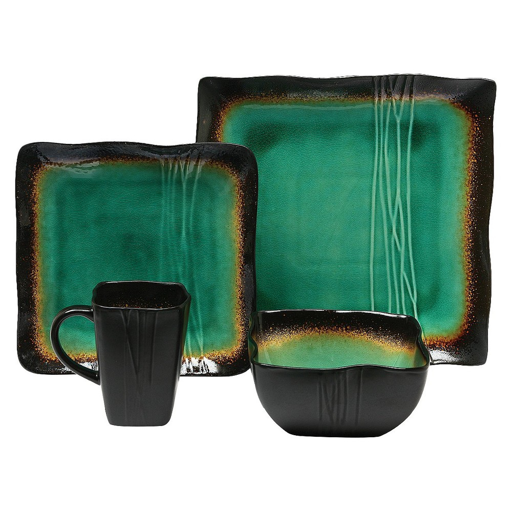 Image of Baum Bros. Galaxy 16pc Dinnerware Set Jade, Green