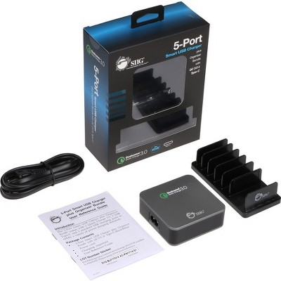 SIIG 5-Port Smart USB Charger plus Organizer Bundle with QC3.0 & Type-C - Black - 120 V AC, 230 V AC Input - 12 V DC/3 A, 9 V DC, 6.5 V DC Output