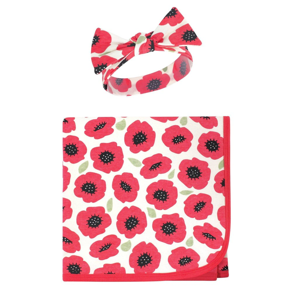 Touched By Nature Unisex Baby Organic Cotton Swaddle Blanket And Headband Poppy One Size