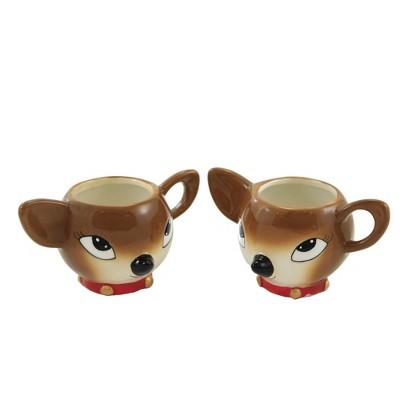 """Tabletop 2.75"""" Tinsel Town Deer Cup Christmas Drink Reindeer One Hundred 80 Degree  -  Drinkware"""