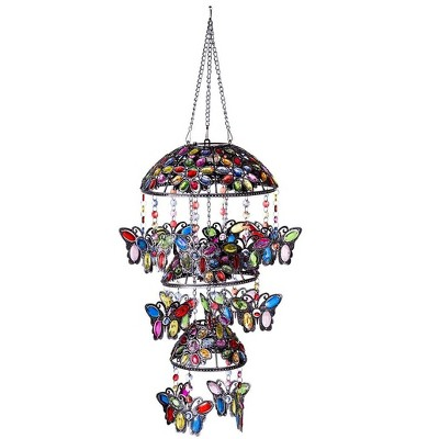 Wind & Weather Three-Tiered Solar Jeweled Lighted Butterfly Mobile