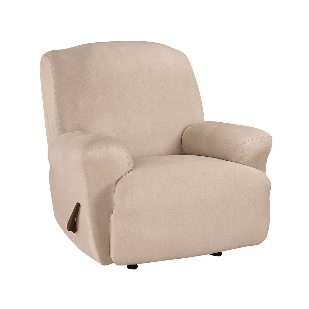Ultimate Stretch Suede Recliner Slipcover Cement Gray - Sure Fit