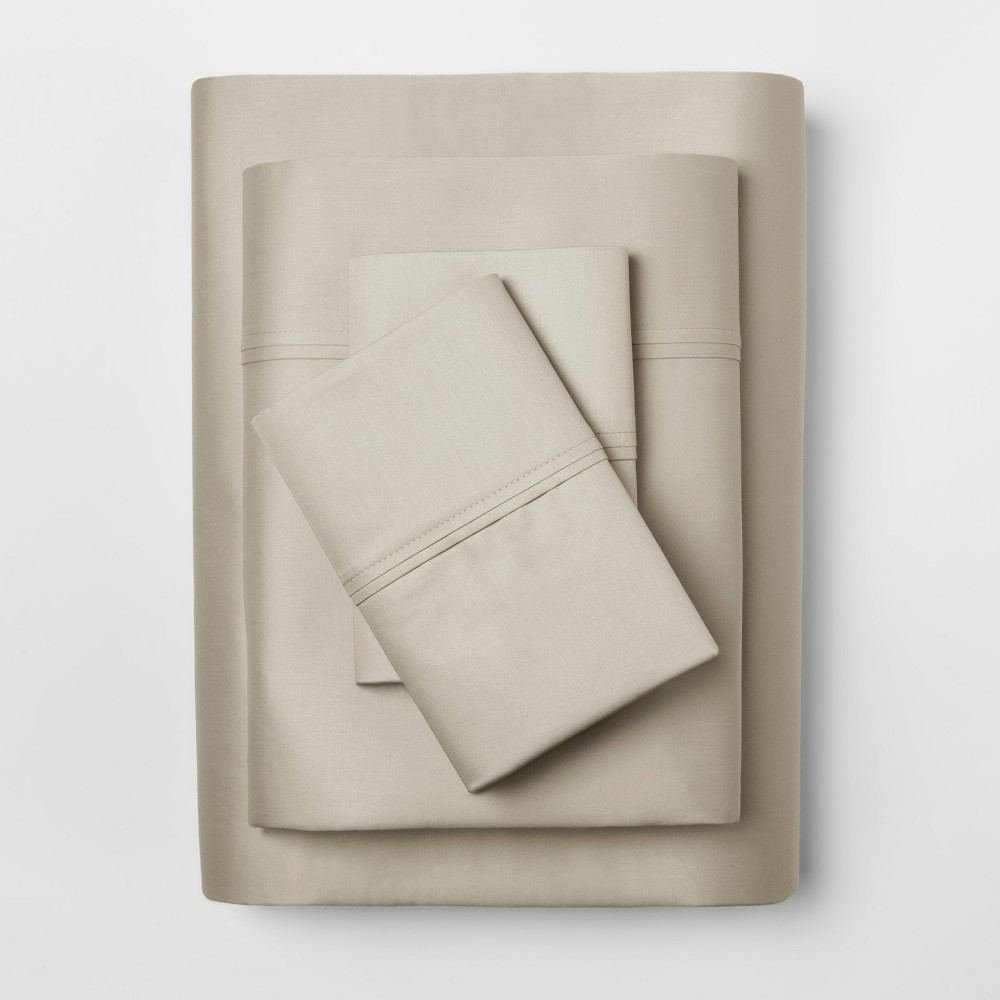 Performance Sheet Set (King) Linen Brown 400 Thread Count - Threshold, Brown Linen