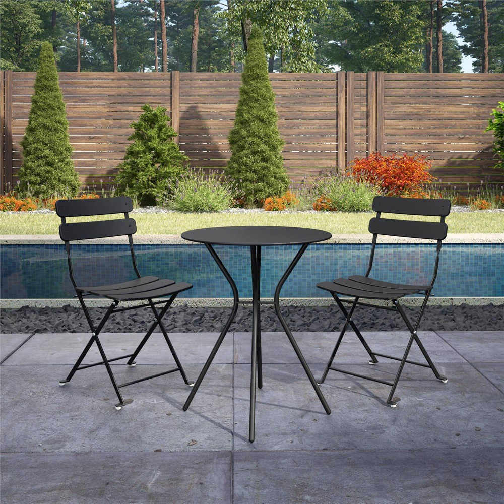 Image of Cosco 3pc Bistro Set with 2 Folding Chairs - Black