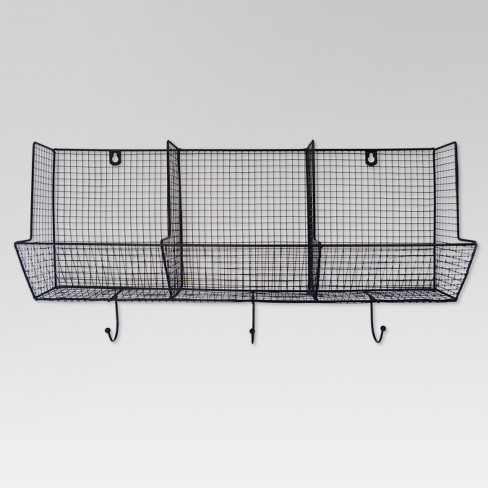 "Wire Basket with Hooks 3-Slot (12""X24"") - Threshold™ - image 1 of 3"