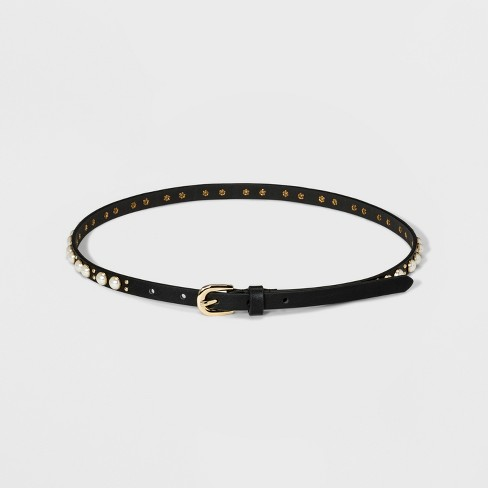Women's Pearl Cabadoon Belt - A New Day™ Black - image 1 of 2