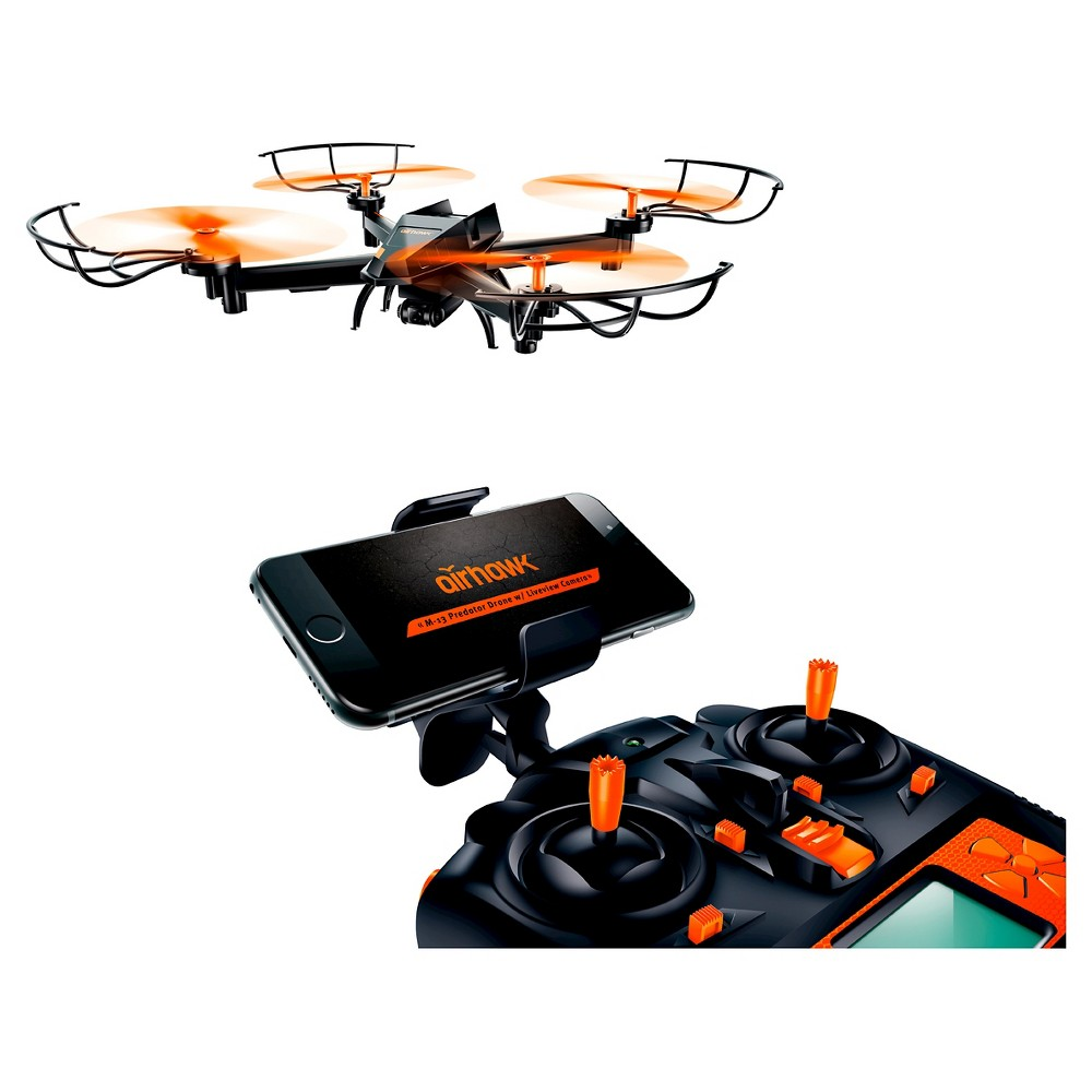 Airhawk - M-13 Predator Drone with Wi-fi Live Streaming Camera, Orange