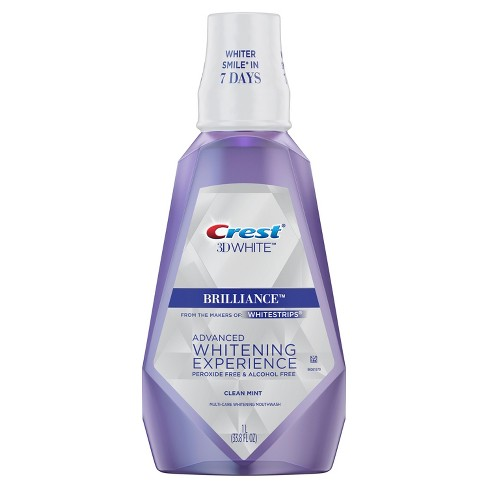 Crest 3D White Brilliance Alcohol Free Whitening Mouthwash Clean Mint - 33.8 fl oz - image 1 of 7