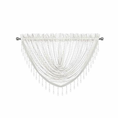 Kate Aurora Elegant Crystal Beaded Chevron Design Window Curtain Valances - image 1 of 1